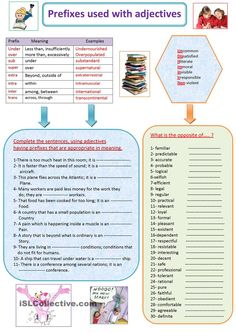 Prefixes used with adjectives