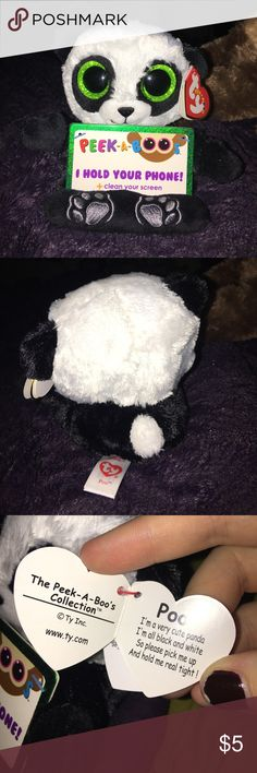 🌸TY Panda Phone Holder TY Peek-a-boos holds your phone and with its soft material lets you clean your screen. Never been used NWT panda version! Accessories Phone Cases