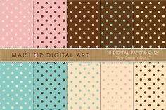 Digital Papers  - Ice Cream Dots ~~ This is a pack of 10 original high quality digital papers in jpg format. You can print them in any kind of paper and any kind of printer; inkjet or laser, at home, at work :) or in your favorite printer everytime you want. You can also print them on fabric
