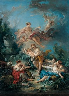 Francois Boucher Mercury Confiding The Infant Bacchus To The Nymphs Of Nysa Oil Painting Reproductions love art Francois Boucher Mercury, der den Säuglingsbacchus den Nymphen von Nysa anvertraut Ölgemälde-Reproduktionen - Merys Stores Rococo Painting, Oil Painting Reproductions, Paris Painting, Painting Art, Body Painting, Renaissance Kunst, Renaissance Paintings, The Renaissance, Portrait Renaissance