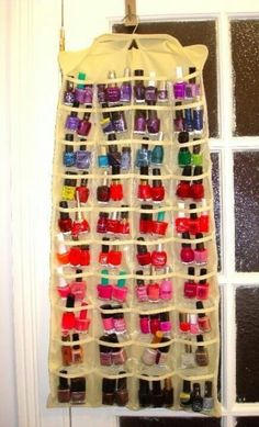 Organizing nail polish. HATE how dirty this picture looks, but genius idea. Shoe rack with nailpolish!!