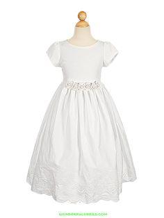 White French Eyelet Embroidered Flower Girl Dress