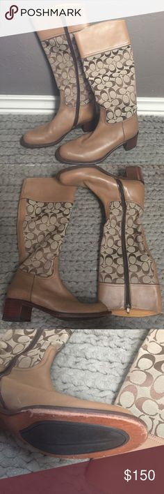 Tan Coach Boots Tan Coach Boots size 7 1/2. Has scuffs seen on the third picture. Coach Shoes Heeled Boots