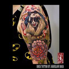 Samurai cat with peonny flower Done by Jaroslaw Baka  Jaroslaw Baka Tattoos and Artwork   https://www.facebook.com/jaroslawbakatattoos  https://instagram.com/jaroslawbaka/   https://www.rocktattoo.pl