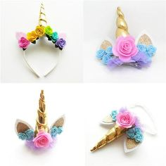 Gold Horn Unicorn Headband & Hair Clips - New Deko Sites Diy Unicorn Headband, Horn Headband, Unicorn Hair, Diy Headband, Baby Headbands, Felt Roses, Felt Flowers, Unicorn Birthday Parties, Girl Birthday