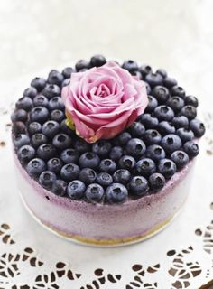 Blueberry Ice Cream Cheesecake  This looks like something my daughter would make.  Looks yummy!