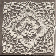 Beautiful Irish crochet square or motif with raised flower in center and popcorn stitches. Looking for site with real pattern. Crochet Skull, Crochet Motifs, Crochet Blocks, Crochet Squares, Thread Crochet, Crochet Granny, Irish Crochet, Granny Squares, Crochet Vintage
