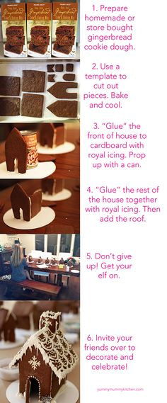 How to Make a Gingerbread House + Throw a Decorating Party - Yummy Mummy Kitchen Homemade Gingerbread House, Gingerbread House Template, Gingerbread House Parties, Christmas Gingerbread House, Gingerbread Houses, Gingerbread Cookies, Merry Little Christmas, Christmas Time, Italian Christmas