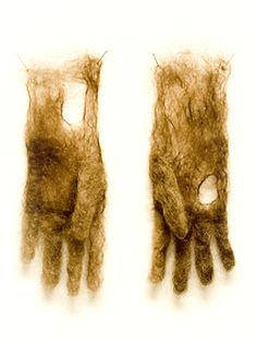Adrienne Antonson, gloves made from human hair and thread.