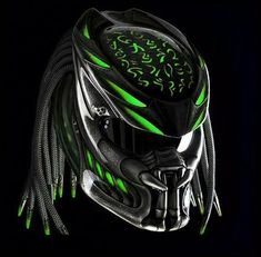 Predator Helmet Custom For Bikers Green color - DOT Approved Motorcycle Events, Motorcycle Helmets, Women Motorcycle, Ducati Monster, Audi, Porsche, Royal Enfield, Predator Helmet, Predator 2