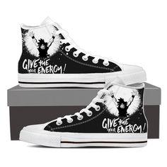 DBZ Goku Give Energy Spirit Bomb Black White Edition Converse Sneaker Shoes  #DBZ #Goku #GiveEnergySpiritBomb #BlackWhiteEdition #ConverseSneakerShoes