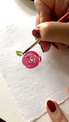 Watercolor Art Lessons, Watercolor Paintings For Beginners, Watercolor Techniques, Watercolor Flowers Tutorial, Watercolor Rose, Simple Watercolor Flowers, Flower Art, Simple Flower Painting, Rose Drawing Simple