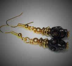 Earrings Handmade Skulls Black Magnesite