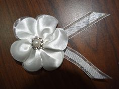 Classy White Flower Brooch/Clip with Gem and by AlicornDream