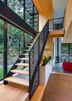 black windows and staircase parts