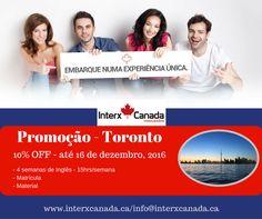 Promoção Toronto até dia 16 de dezembro de 2016! 10% de desconto em uma das escolas mais renomadas da cidade com localização privilegiada próximo dos principais pontos turístico de Toronto. Entre em contato e garanta já a sua matrícula!