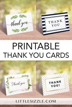 Printable thank you cards by LittleSizzle. Unique and creative thank you cards to print at home. Each card includes a flat and folded PDF file. Use these easy to print, unique and affordable cards to show you care and express heartfelt thanks in beauty and style.
