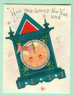 Vintage New Year Greeting Card, adorable  little clock