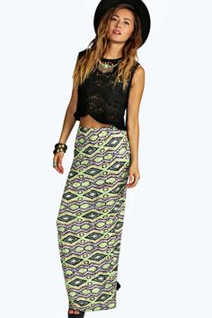 Jennie Neon Aztec Maxi Skirt alternative image