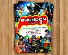 Invitación de Lego Batman cumpleaños de Lego por BooBooArtStudio