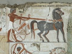 Fragment of a limestone tomb-painting representing the assessment of crops, for the purposes of tax, on Nebamun's estate, five vertical registers of hieroglyphs survive; the rest of the fragment is divided into two registers, with a horse-drawn chariot above and cart drawn by onagars beneath.