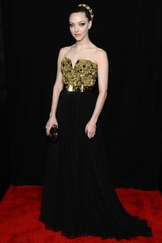 Amanda Seyfried Red Carpet strapless, bicolor and glitter bejeweled bodice formal dress