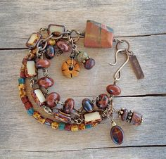 Rustic Boho Brass Bracelet with Red Creek Jasper and Mahogany Obsidian Gemstones, and Picasso Czech Beads