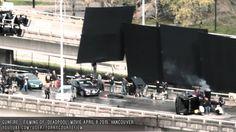 DEADPOOL MOVIE SET - Filming Action Scene, Deadpool Shot At