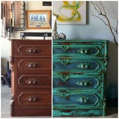 The Turquoise Iris ~ Vintage Modern Hand Painted Furniture: Gorgeous Vintage Turquoise Chest & a Short Video Clip