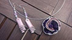 bijoux parure collier boucles d'oreilles capsule café nespresso recyclé,violet et rose : Parure par cococreative