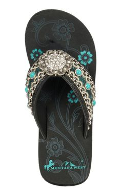 Montana West Women's Turquoise with Cream Embroidered Strap with Round Concho Wedge Flip Flops | Cavender's