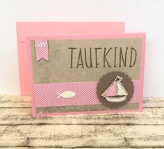 Glückwunschkarten - Taufkarte SCHIFF für Mädchen - ein Designerstück von POMMPLA bei DaWanda
