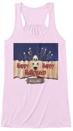 Happy Halloween Tank Top Soft Pink T-Shirt Front