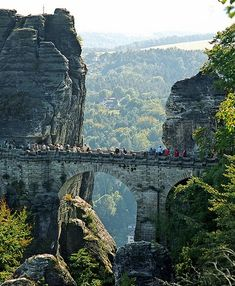Beautiful Bastei Bridge in Elbe Mountains, Dresden - Germany