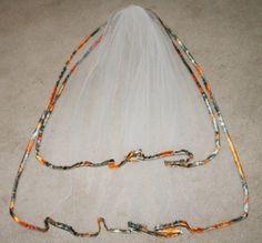 Orange Camo Veil Blaze Camo Veil Camo Edged Veil by Camotreasure