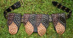 Leder Gürteltasche Bikertasche mit Nieten