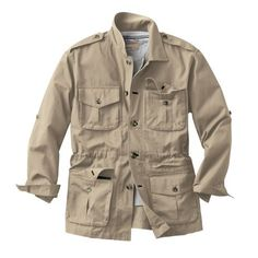 """""""Shop TravelSmith for our Bush Poplin Safari Jacket. Browse our online catalog for the best in clothing, gear and inspiration for journeys near and far. Safari Outfits, Designer Suits For Men, Mens Fashion Wear, Mens Travel, Safari Jacket, Field Jacket, Gentleman Style, Military Fashion, Stylish Men"""