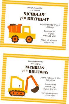 Printable Diggers and Dump Trucks Invitations  www.nickwilljack.etsy.com