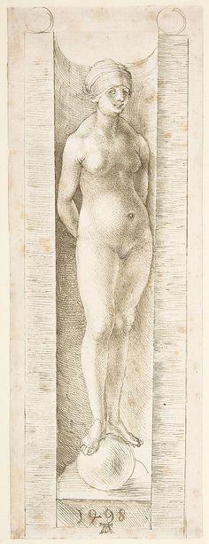 """Albrecht Duirer (German, Nuremburg 1471-1528 ) """"Fortuna in a Niche"""" ca. 1498 ; pen and greenish brown ink"""