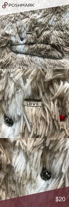 Jewelry bundle One silver choker with gems, one gold heart necklace, one silver moon necklace, and one LOVE ring ( possibly size 6) Jewelry Necklaces