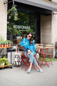 Morning Coffee Date - Rosecrans West Village - Wendy's Lookbook Cute Coffee Shop, Wendy's Lookbook, Coffee Date, West Village, Street Style Summer, Happy Summer, Blue Bags, Morning Coffee, Style Inspiration