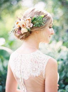 Wedding Hairstyles :   Illustration   Description   Summer floral accented bridal hairstyle – Deer Pearl Flowers / www.deerpearlflow…    -Read More –   - #WeddingHairstyle https://adlmag.net/2017/12/11/wedding-hairstyles-summer-floral-accented-bridal-hairstyle-deer-pearl-flowers-www-deerpearlflow-2/