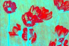 """'Vorhang """"türkis-rot""""' von Rudolf Büttner bei artflakes.com als Poster oder Kunstdruck $18.71"""