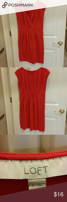 Ann Taylor Loft red summer dress Ann Taylor Loft red short sleeve summer dress. Elastic in back to accentuate waist Ann Taylor Dresses Midi
