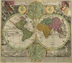 World maps of the Northern and Southern hemisphere published in 1593 by the Dutch cartographer and engraver Gerard de Jode.