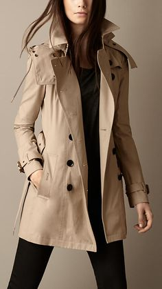 Burberry, Mid-Length Hooded Trench Coat with Warmer in Taupe, $900