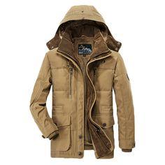 AFSJEEP Mens Fleece Thick Winter Coat Hooded Outdoor Solid Color Jacket