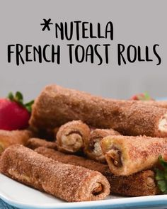 These indulgent breakfast pastries create the perfect union between cinnamon rolls to French toast. Nutella adds a delicious element that you'll love! and Drink deserts dessert recipes Nutella French Toast Rolls French Toast Rolls, Nutella French Toast, Nutella Mini, Healthy French Toast, French Toast Sticks, French Toast Bake, French Toast Casserole, Breakfast Casserole, Cooking Recipes