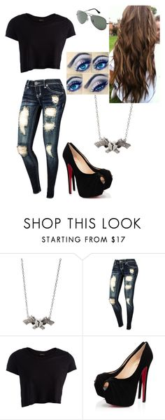 """Untitled #154"" by julissab ❤ liked on Polyvore featuring Rock Rebel, Ray-Ban, Pieces and Christian Louboutin"