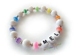 Personalized Rainbow Colors Girls Name Bracelet by BestGifts4Kids